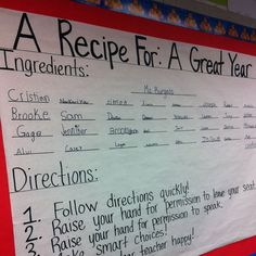 A RECIPE FOR: A GREAT YEAR:) Back to school bulletin board.