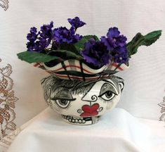 Ceramic African Violet Pot/ Planter Impressionistic Black, White & Red Picasso Style Lover's Whimsical Faces and Flowers 2 Piece on Etsy