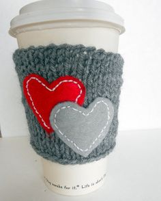 I love my coffee knitted coffee cup cozy , wrist warmer, gray cozy with double heart, custom colors