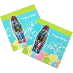Full colour printed card containing a foiled Belgian milk chocolate rabbit. Great budget item!