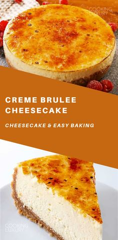 Creme Brulee Cheesecake Creme Brulee Cheesecake is the best of two dessert worlds. To get that perfect caramelized sugar topping we highly recommend using a torch. Creme Brulee Cheesecake, Cheesecake Cake, Cheesecake Recipes, Creme Brulee Cake, Baking Desserts, Just Desserts, Delicious Desserts, Cake Baking, Healthy Cake Recipes