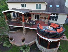 The Evolution of Outdoor Living Designing and Building across the US . This project has our custom barrel roof with tigerwood ceiling and Ipe columns Along with our signature circular fire lounge above a Ipe trimmed Sauna room. 973.729.2125 What can we design for you?