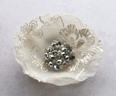 Ivory bridal flower - vintage style organza flower with rhinestones - brooch or bobby pin