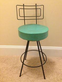 Retro Kitchen Bar Stool Turquoise Wrought Iron Radar Antenae Vintage Cool   eBay