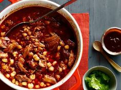 Get Posole Rojo Recipe from Food NetworkRed Pork Pozole Recipe. Red Pork Pozole - simple, earthy, rich and satisfying. Pork and hominy in a Mexican Dishes, Mexican Food Recipes, Soup Recipes, Cooking Recipes, Mexican Desserts, Dinner Recipes, Posole Recipes, Cooking Tips, Mexican Meals