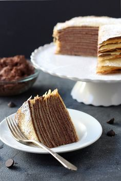 Crepe cake with whipped chocolate ganache ** crepe cake w/ of this chocolate ganache recipe & of a custard/creamy filling Just Desserts, Delicious Desserts, Yummy Food, Crepe Delicious, Fancy Desserts, Sweet Recipes, Cake Recipes, Dessert Recipes, Brunch Recipes