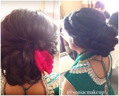 Soft flowing updo with curls and Rose added to side for an Indian bride. Bridal hair / bridal updo
