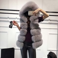 Women's Casual/Daily Sophisticated Fall Winter Fur Coat,Solid Hooded Sleeveless Regular Fox Fur 2017 - $26.45