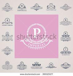 Luxury vintage crest logo set. Calligraphic emblems and monogram elements elegant decor. Vector royal crest ornament for letter