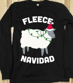 Fleece Navidad (White Ink) - Winter Cheer - Skreened T-shirts, Organic Shirts, Hoodies, Kids Tees, Baby One-Pieces and Tote Bags