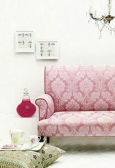 Pink ikat print sofa... #pink #ikat #sofas From House & Leisure {http://www.houseandleisure.co.za/} via Brabourne Farm blog.