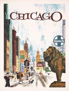 Original 1955/60 Santa Fe Rail Travel Poster CHICAGO