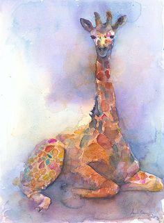 Baby Giraffe Fine Art Print/Giraffe Watercolor/Wild Animal
