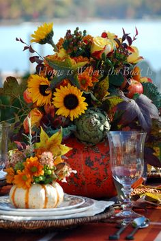 Pumpkin vases for each place setting and centerpiece @Home is Where the Boat Is #fall #pumpkins #thanksgiving