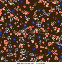 Simple cute pattern in small-scale flowers. Millefleurs. Liberty style. Floral seamless background for textile or book covers, manufacturing, wallpapers, print, gift wrap and scrapbooking. Raster copy