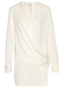 DKNY | Wrap-effect silk-blend satin-paneled crepe de chine blouse | NET-A-PORTER.COM