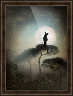 """The Main in the Moon"" by Catrin Welz-Stein, shown with our Belmont Medium Olive frame in the medium size.  Explore more surreal prints available on www.imagekind.com!"