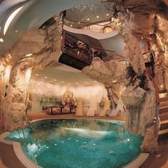 Modern House Design & Architecture : Cave house with Cave Pool OMG ! Cave Pool, Indoor Pools, Indoor Jacuzzi, Lap Pools, Backyard Pools, Pool Landscaping, Outdoor Pool, Mega Mansions, Cool Mansions
