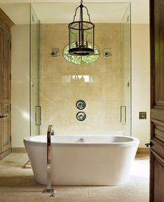 Suzie: Robert Zamora   modern bathroom design with freestanding modern tub, frameless glass ...