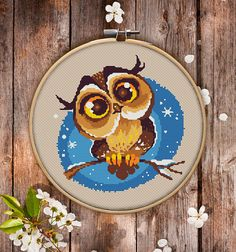 Baby Cross Stitch Pattern of Owl for Instant Download - 046| Embroidery Pattern| Cross Stitch PDF| Needlecraft Pattern| Hand Embroidery