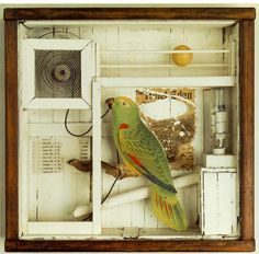 "Untitled ""The Hotel Den"" by Joseph Cornell. Joseph Cornell was an American artist who was one of the most celebrated people in assemblage art. He was also considered a ""pioneer"" in assemblage art Collages, Collage Artists, 3d Collage, Collage Sculpture, Magritte, Arte Assemblage, Joseph Cornell Boxes, Found Object Art, Inspiration Art"