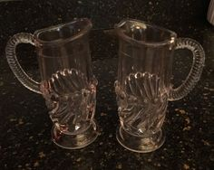 """EAPG """"Lutz"""" pattern """"Swirl and Ball"""" variant small Pitchers made by McKee Bros circa 1894, 6.25""""H x 3""""W (2.75""""D base)"""