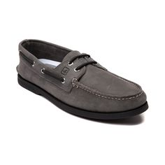 Shop for Mens Sperry Top-Sider Authentic Original Boat Shoe, Gray Black, at Journeys Shoes. Seas the day with the new Authentic Original Boat Shoe from Sperry Top-Sider! The Authentic Original Boat Shoe is setting sail, sporting soft leather uppers, leather laces, moccasin stitched toe, and slip resistant outsoles.Features include Water resistant leather upper Handsewn moccasin style toe 360 degree leather lace system  Cushioned EVA heel cup Slip resistant rubber outsole for traction on wet…