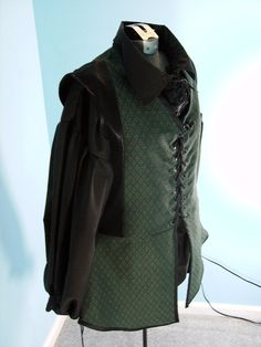 Medieval Green and Black Jerkin / Vest SIze M by PavaneCostuming, $50.00