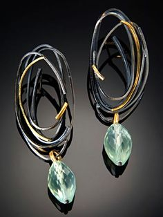Earrings | Sydney Lynch.  'Scribble'  Sterling (patina), gold, prehnite beads