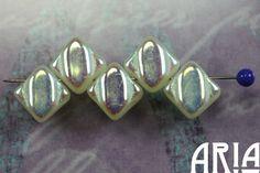 CITRON+AB+6x6mm+TwoHole+Diamond+Czech+Glass+by+AriaDesignStudio,+$5.60