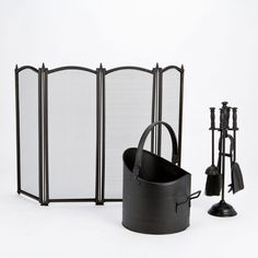 INGLENOOK Fireside SET Fireguard Coal Bucket Fire Companion Set Tool Accessories #Inglenook #Modern
