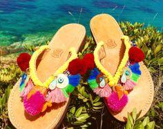 Pompom shoe sandal flip flop by PomPomStudioDesign on Etsy