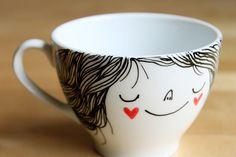 Illustrated tea/coffee cup by heidi burton