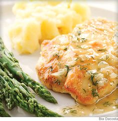 Not a fan of the kitchen? Fresh lemon and dill create a Greek-inspired pan sauce for this simple sauteed chicken breast. Mashed potatoes and fresh asparagus go great with this dish.