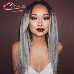 109.80$  Buy now - http://ali2on.worldwells.pw/go.php?t=32787874757 - 9A Grade Ombre Grey Hair Full Lace Wig Indian Remy Human Hair Glueless Lace Front Wigs For Black Women Silky Straight Human Hair