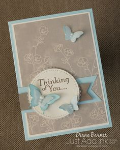 handmade sympathy - thinking of you card using Stampin Up Thoughts & Prayers, Papillion Pot Pourri stamp set & Falling in Love paper, & Stitched Shapes framelit dies