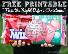 "DIY Gift Ideas | Looking for a quick and easy gift idea for your neighbors? This ""Twiz the Night Before Christmas"" FREE printable is sure to do the trick!"
