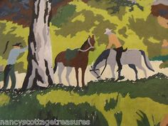 **SOLD!** VINTAGE PBN PAINT BY NUMBER ~ TWO COWBOYS W/ HORSES - WOODS ~ NO FRAME 12X16