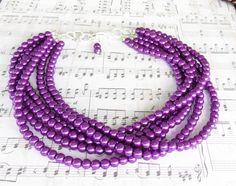 Peacock Purple Pearl Bridal Jewelry - Purple Bridesmaid Jewelry - Purple Statement Neckace - Matching Jewelry Set - Peacock Purple