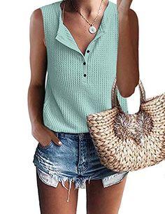 $19.99 XL BLUE GREEN MOLERANI Womens Waffle Knit Tunic Tops V Neck Henley Tank Tops Sleeveless Button Up Shirts MOLERANI