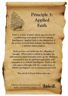Napoleon Hill Success Principle #3 - Applied Faith