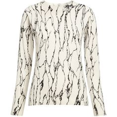 Whistles Marble Print Crew Neck Jumper, Black & White found on Polyvore featuring polyvore, women's fashion, clothing, tops, sweaters, cashmere crew neck sweater, pure cashmere sweaters, print sweater, cashmere crewneck sweater and cashmere jumpers