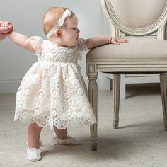 Poppy Christening Blessing Dress & Bonnet - Girls Silk & Lace Baptism Dress #Christening #BabyDress #BaptismDress #BlessingDress