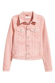 I want a super soft pink denim jacket. Structured, cut in so it gives shape and isn't boxy. Coloured Denim Jacket, H&m Denim Jacket, Jean Jacket Outfits, Jeans Denim, Pink Jacket, Pink Ladies Jacket, Denim Jackets, Light Pink Jeans, Light Denim