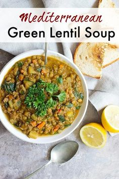 This green lentil soup with a Mediterranean twist is the perfect weeknight dinner. Packed with vegetables and spices, this healthy lentil soup is a favorite. Green Lentil Soup, Lentil Vegetable Soup, Vegetable Soup Healthy, Lentil Soup Recipes, Healthy Soup Recipes, Healthy Cooking, Appetizer Recipes, Vegetarian Recipes, Healthy Eating