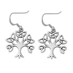 Sterling Silver Wicca Triquetra Kabalistic Tree of Life Dangle Earrings