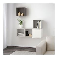 EKET Wall-mounted cabinet combination, white/light gray, dark gray white/light gray/dark gray