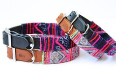 Leather Dog Collars with Vintage Textile Sleeves // Indigo Line on Etsy, $60.23 AUD