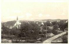 Vestfold fylke Færder kommune  Parti fra Wasser med kirken og bebyggelsen Utg A. Mathisen stemplet 1933