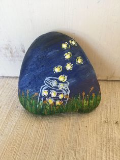 A personal favorite from my Etsy shop https://www.etsy.com/listing/526111758/fireflies-escaping-from-a-jar-in-a-field Firefly Painting, Diy Painting, Pebble Painting, Stone Painting, Pebble Art, Painting Words, Painted Stones, Hand Painted Rocks, Panted Rocks